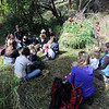 "Simon Harrison, left, talks to the group during the outdoor class on Friday.<br /> Simon Harrison teaches a ""primitive skills"" class at Lion's Gulch, outside Pinewood Springs.<br /> For a video and more photos of the program, go to  <a href=""http://www.dailycamera.com"">http://www.dailycamera.com</a>.<br /> Cliff Grassmick / September 16, 2011"