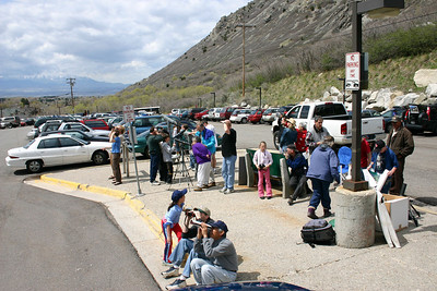 Viewers gather to watch mountain goats at the April 12, 2008 viewing event.  Photo by Scott Root, Utah Division of Wildlife Resources.
