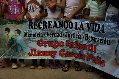 The group Jimmy García Peña was created in memory of the child who was ripped from the arms of his father by paramilitaries. They broke one of Jimmy García Peña's arms and cut his throat. Later they killed his father and mother.