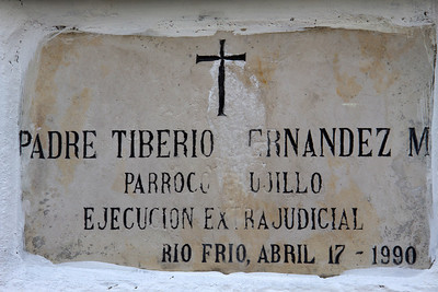 Father Tiberio was a moral authority and was adored in Trujillo. He strove to promote and organize small farmer cooperatives to improve the quality of life of people through community integration.  Father Tiberio was kidnapped and his body appeared in the Cauca river after having been tortured and dismembered.