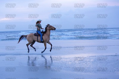 Riding A Horse On A Beach