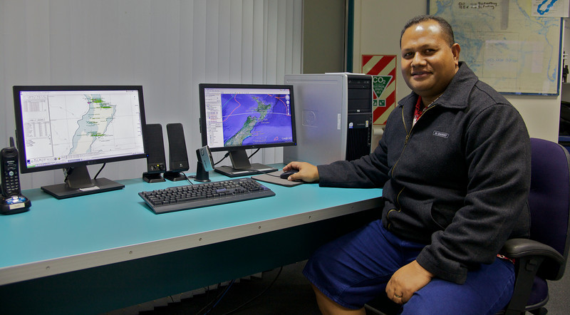 Enisi Maea, Marine Radio Operator from Nukualofa Radio, Tonga who visited Taupo Maritime Radio/Maritime Operations New Zealand for several months in 2012.<br /> <br /> Canon 5DMKII | Lens: Canon EF 28-70mm f/3.5-4.5 | 1/20 sec | f/5.6 | ISO 800 | 28mm | Tripod.