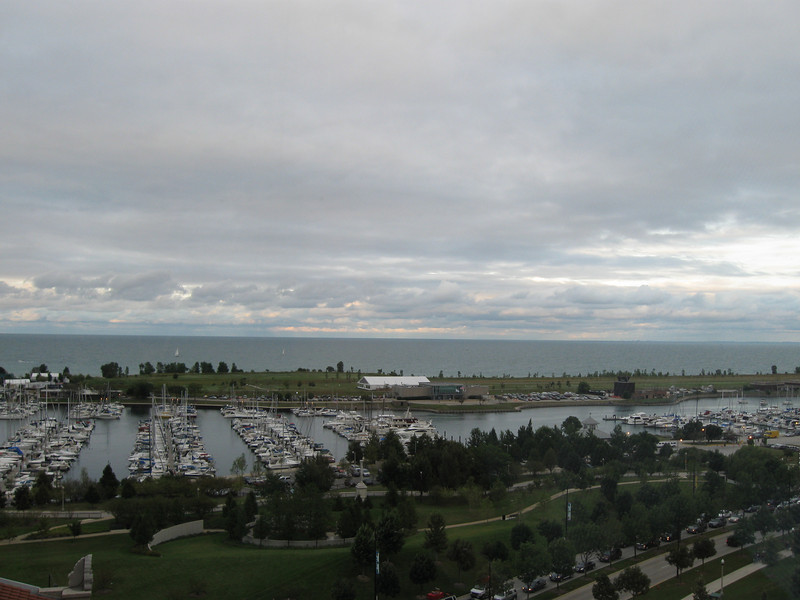 We were on the top level (D) of the executive suites.  This is the view from the hall, looking East towards the lake.