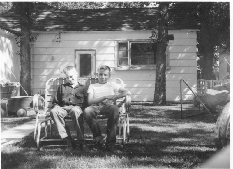 Bruce and Bob in back of Minot house
