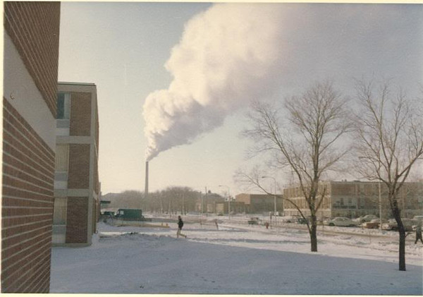 NDSU looking south from Reed Hall east doorway on a cold day.