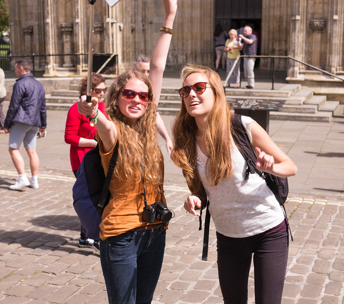 Two Women Taking a Selfie - York Minster UK 2016