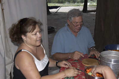Diane and Ron - preparing the orange salad