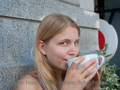 Young Woman drinking Coffee – Victoria, Vancouver Island, British Columbia, Canada