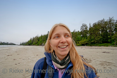 Happy Young Woman - Long Beach, Pacific Rim National Park, Vancouver Island, British Columbia, Canada