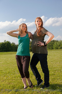 Young Women posing on a Meadow – Germany, Europe