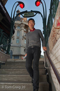 Paris, France, Young Chinese Man, Walking Downstairs to Metro Station