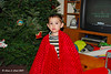 """""""King Zach,"""" wearing the skirt for the bottom of the Christmas tree."""