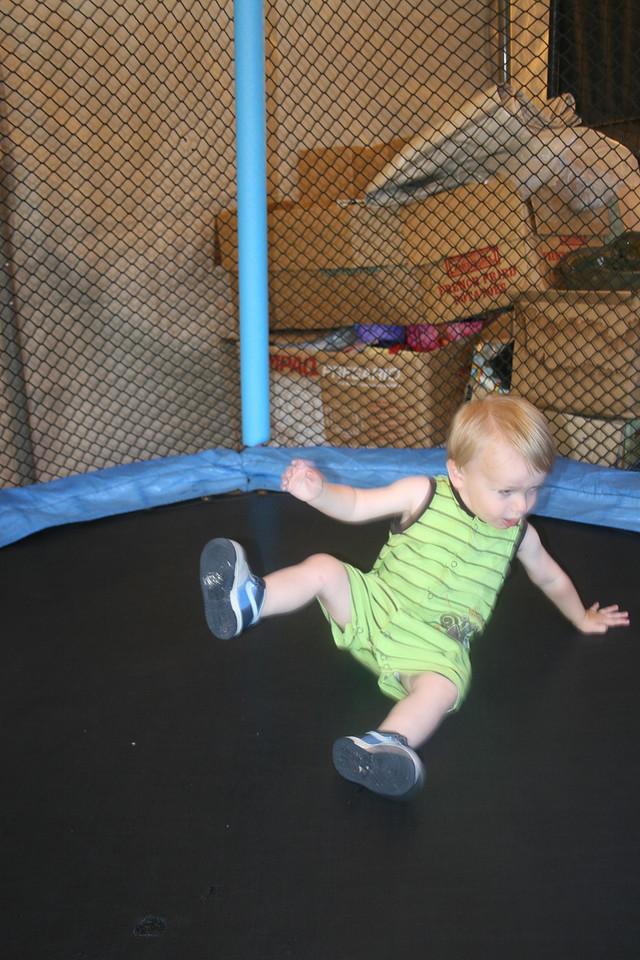 Zane - 19 months old on the trampoline - July 2010
