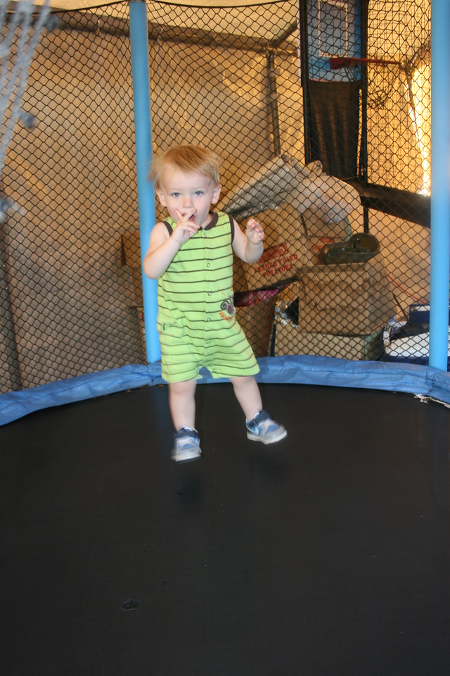 Zane - 19 months old on the trampoline - July 2010
