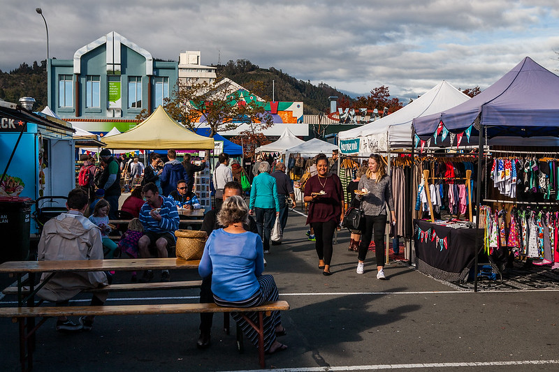The famous Nelson Saturday market, New Zealand