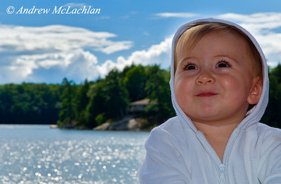 Portrait of One Year Old Girl in Muskoka, Ontario, Canada