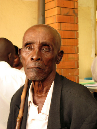 Old man waiting in KCCC Clinic, Kampala, Uganda 2008