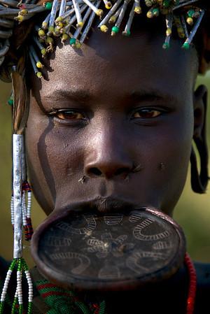 Mursi woman with lip plate, Omo Valley, Ethiopia