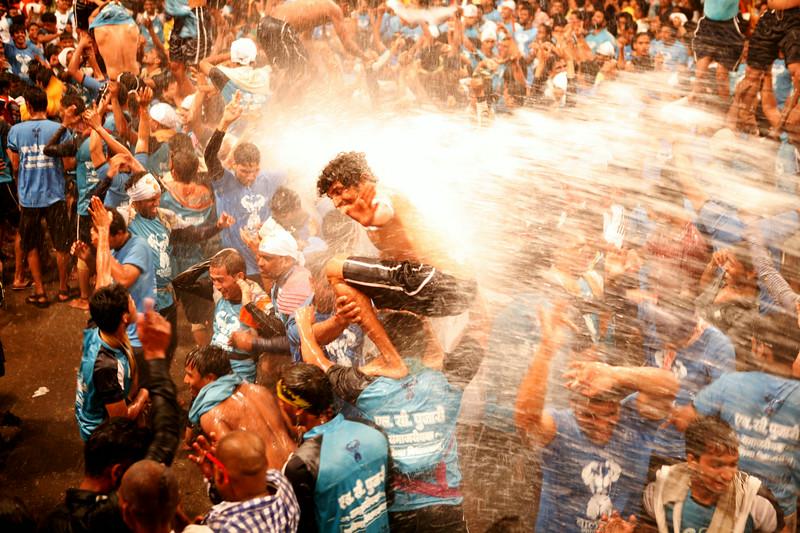 Celebration after success at Dahi Handi in Thane, India