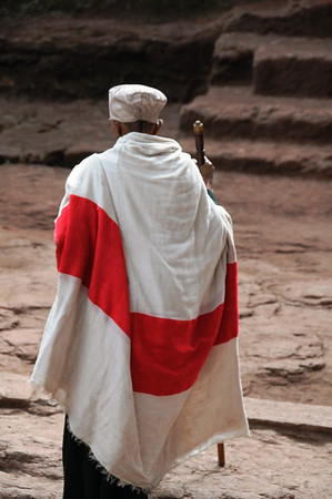 Man Walking to Church in Lalibela, Ethiopia