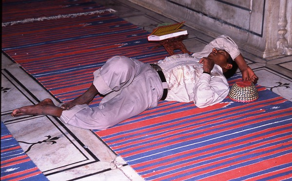 Sleeping in the Mosque, Delhi, India