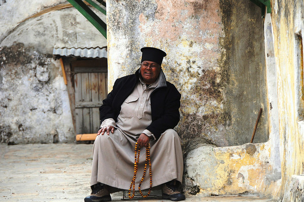 Ethiopian Priest, Roof, Church of the Holy Sepulchre, Old City, Jerusalem, Israel
