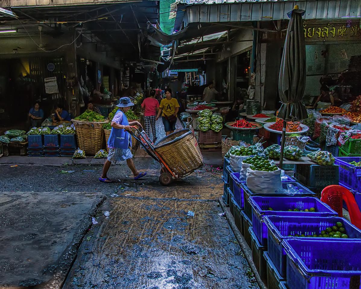 in the Pak Klong Flower Market, Bangkok