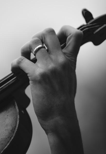 hand on a violin
