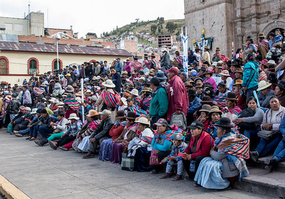 Agricultural workers protest in Puno, Peru for better wages.
