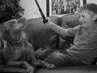 Allie and Porter playing with their Teat Toyz.  This pic (the color version) is used in their ads and on their web site.  This is one of my favourite shots, my perfect girl Allie with the best grandson you could hope for Porter. They do adore each other.
