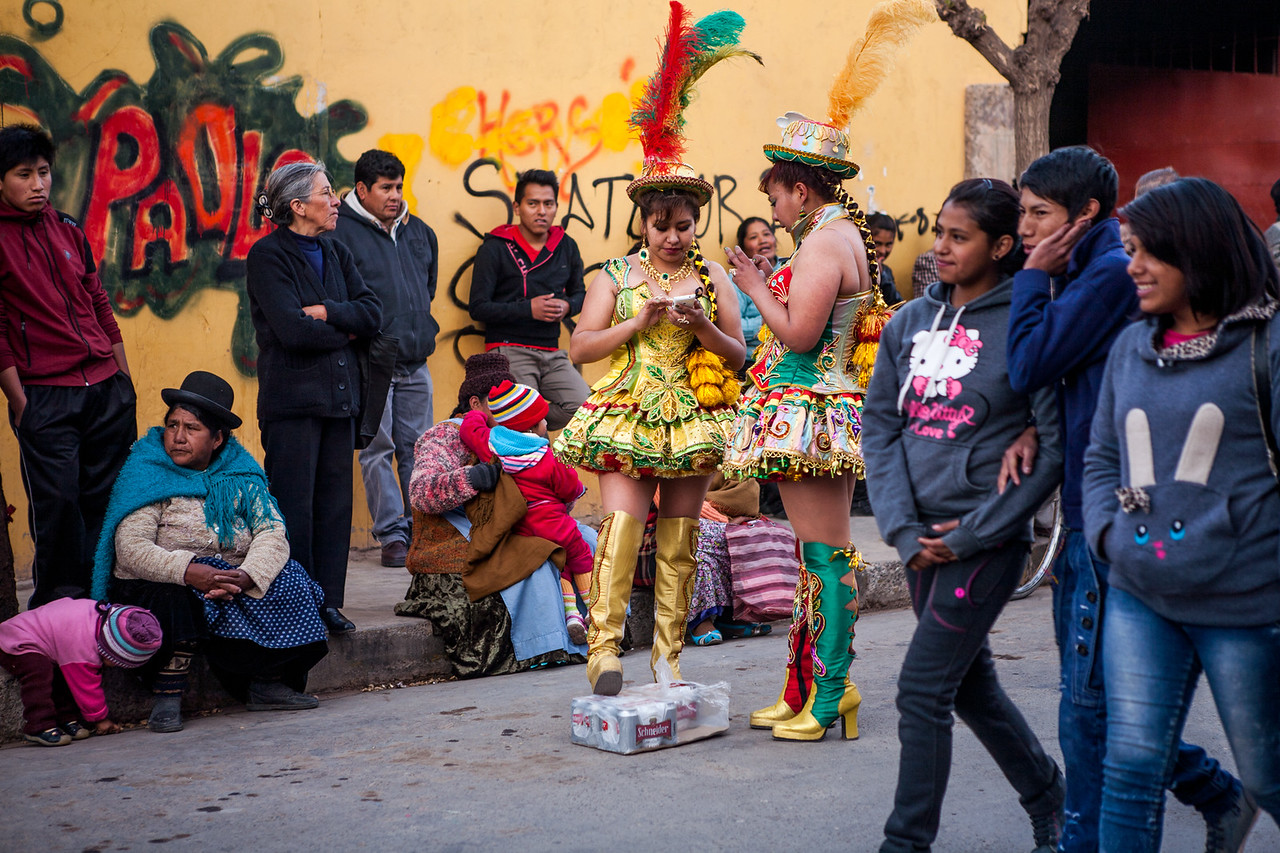 Beer break during the festival of Virgin of Guadalupe in Tupiza, Bolivia