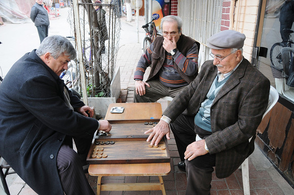 Playing Tavli (Backgammon), Buyuk Ada, Istanbul, Turkey
