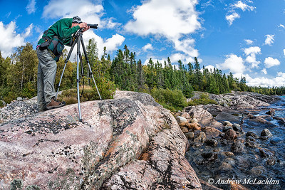 Adult Male Photographer in Lake Superior Provincial Park, Ontario, Canada