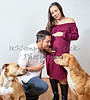 Young Man with Pregnant Woman and Two Dogs