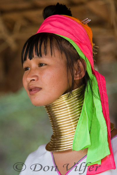 A girl from the long neck tribe in Thailand village.