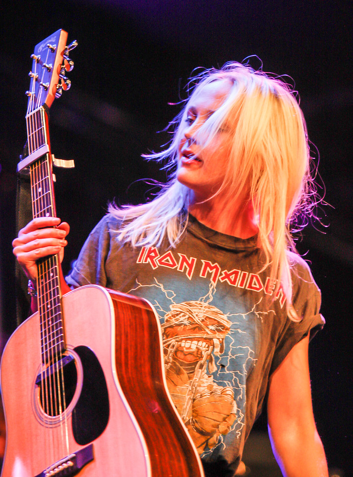 Laura Marling wearing Iron Maiden, Cambridge Folk Festival