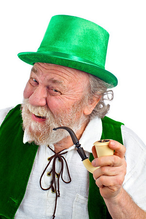 Happy Irish Leprechaun holding pipe