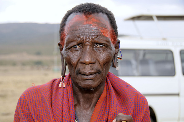 Maasai Man with Red Face Paint, Maasai Mara, Kenya