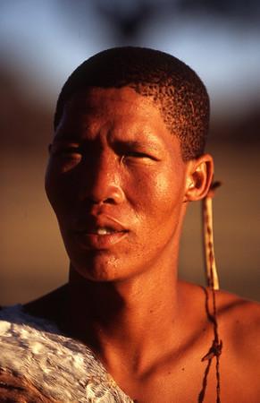 Young San Man, Kalahari Desert, Namibia
