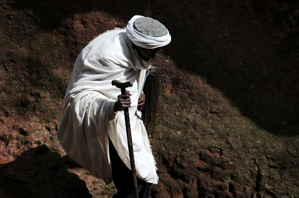Old Man Walking to Church in Lalibela, Ethiopia, Africa