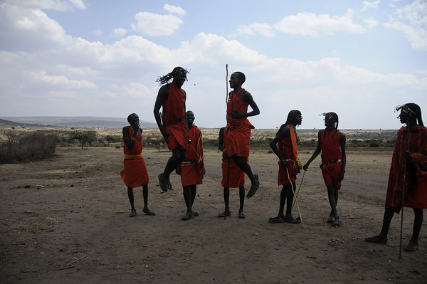 Maasai Warriors Jumping, Maasai Mara, Kenya