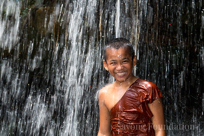 Junior Monk at Waterfall