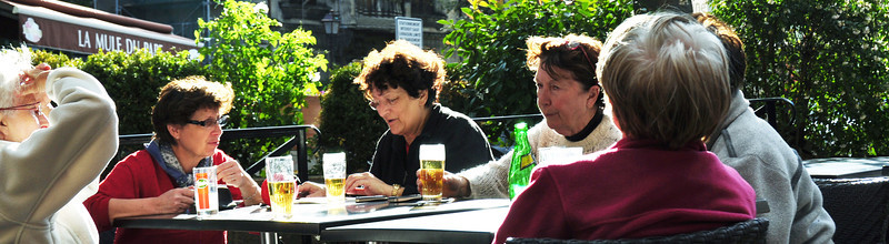Ladies Having an Afternoon Beer. Châteauneuf-du-Pape, France.