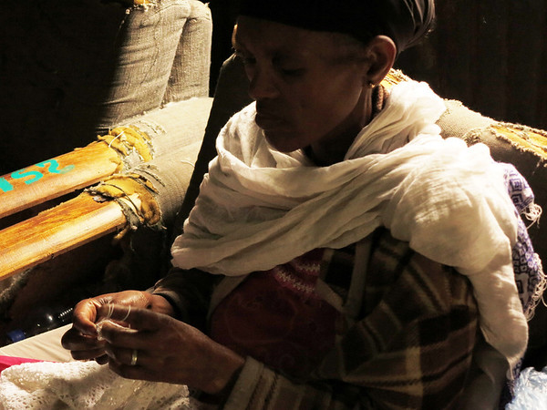 Woman at Alert Hospital for Lepers in Addis Ababa, Ethiopia Embroidering by Window Light