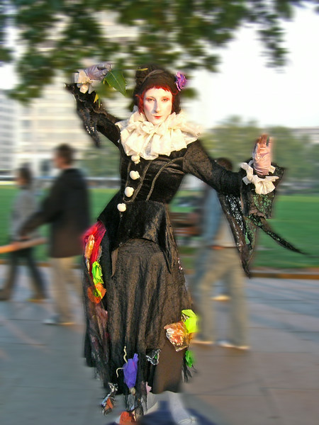 Street entertainer on London embankment