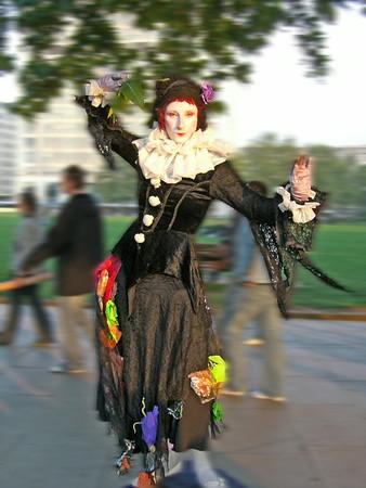 Street entertainer on London embankment