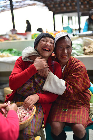 Happy couple in a market in Thimpu, Bhutan