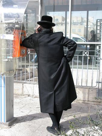 Man Taling on Telephone, Old City, Jerusalem, Israel