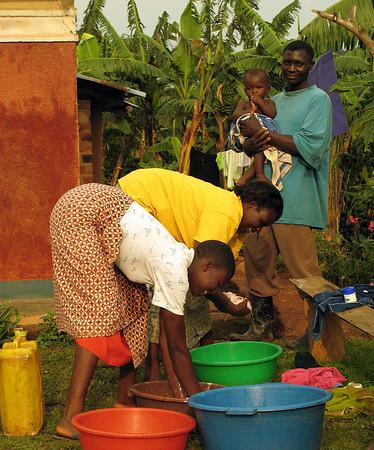 Washing clothes in Kanungu