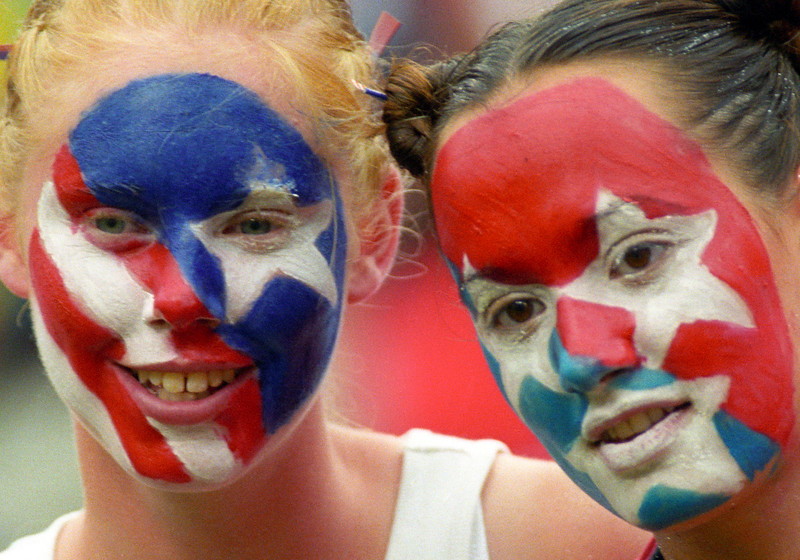 Face painting, red white and blue.